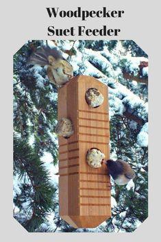I love this suet feeder for woodpeckers. I haven't really thought about feeders for woodpeckers.Solid reclaimed wood hanging suet bird feeder with chain. #bird #birdfeeder  #ad