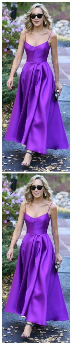 Elegant Spaghetti Straps Purple Satin Prom Dress Tea Length Wedding Party Formal Gown by olesaweddingdresses, $132.28 USD Classy Prom Dresses, Prom Party Dresses, Homecoming Dresses, Evening Dresses, Tea Length Wedding, Purple Satin, Tea Length Dresses, Formal Gowns, Evening Party