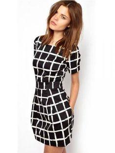 Chiffon Plaid Round Neck Short Sleeve Mini Dress-fashion, - newchic.com Mobile