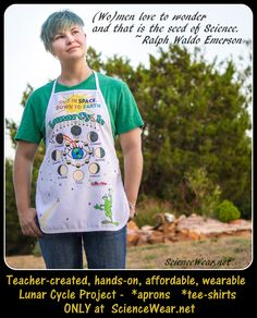 MUST DO THIS MOON PHASE PROJECT WITH STUDENTS!  Click on the link for project resources and additional information. Bulk ordering (affordable for every student) with design on Tees OR aprons!