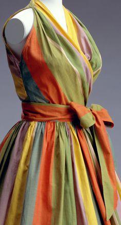 Claire McCardell - Robe 'Tour de Cou' - Rayures - Noeud à la Taille - Années 40