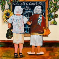 """May you always have a friend to share dessert and a lovely purse to swing on your arm....    Series 2: Grand-mere sur le marche  Le Bistro  Oil on Canvas 36"""" x 36"""""""