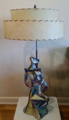 ' Gossiping Ladies 'cubist 'Satiro Innamorato'sculptural lamp by Fantoni – mid 50′s