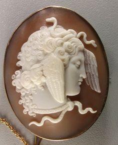 """Medusa"" - Sardonyx Shell Cameo Mounted In 9k Gold - (Cameo) Italy  (Frame) English  c.1870"