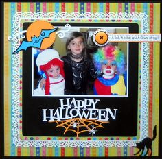 Happy Halloween - Scrapbook.com - Combine cutesy and bright colors with traditional Halloween colors and goodies when you have an assortment of costumes in your photo.