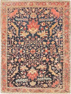 View this beautiful tribal and primitive antique Persian Heriz Serapi Rug #47295 from the Nazmiyal Collection in Manhattan, New York City.