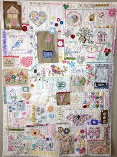 Linda Jo's Obsessions: Stitches Two friends who swap embroidery… Embroidery Sampler, Hand Embroidery Stitches, Vintage Embroidery, Cross Stitch Embroidery, Embroidery Patterns, Quilt Patterns, Fabric Art, Fabric Crafts, Pot Pourri