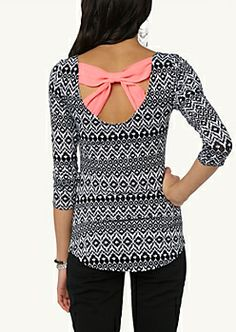 Girls Fashion Tops- neon bow back tribal chevron top | rue21