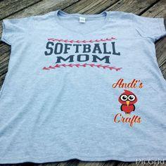 Softball Mom, Teeball Mom, Baseball Mom, V-Neck T-Shirt by AndisCraftsOnline on Etsy