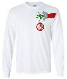 Monogram Christmas Shirt Grinch Shirt Monogram by Silverngeauxld