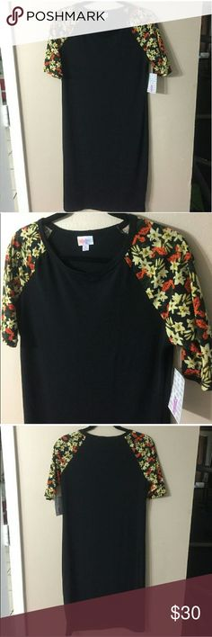 LULAROE Julia NWT!  Rare all black Julia with orange,  uellow, and green floral print on black background on sleeves. Laid flat chest measures 18 inches,  length from shoulder to hem is 38.5 inches LuLaRoe Dresses Midi