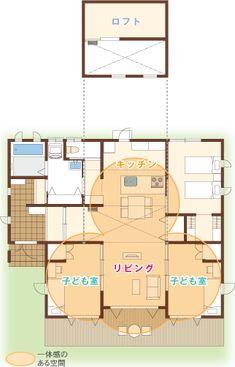 Case1 里山|子育てのためのAYA|豊かな時間と夢を育む家:AYA|アイフルホーム Craftsman Floor Plans, Childcare, One Bed, House Plans, Sweet Home, Flooring, How To Plan, Loft, Cabin