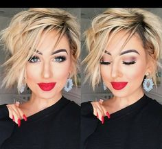 I can't stop wearing stubborn liquid lipstick! The perfect holly jolly red for the season now I'm off to make a festive cocktail hope you're all having an amazing Saturday! Pixie Hairstyles, Pretty Hairstyles, Bob Hairstyle, Cute Haircuts, Choppy Haircuts, Corte Y Color, Haircut And Color, Great Hair, Hair Today