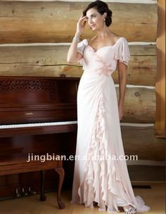 Suzhou Delicate looking mother of the bride Evening Dress flutter sleeves 2011 Cap Sleeve Prom Dresses White Dress ED59
