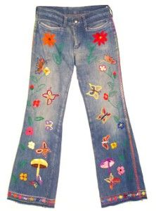 Bell Bottom Jeans, Embroidered  !