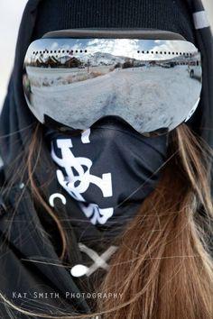 Girl, ski goggles reflection