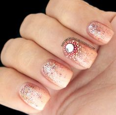 CHIC BEIGE NAILS WITH GLITTER #nails