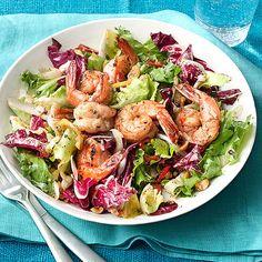 Tricolor Salad with Hazelnuts & Sauteed Shrimp