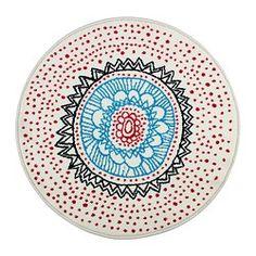 "VIRRING rug, low pile, multicolor, white Diameter: 31 1/2 "" Area: 5 sq feet Surface density: 8 oz/sq ft Diameter: 80 cm Area: 0.50 m² Surfac..."