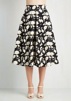 My Heart Will Grow On Skirt. With each new way of styling this full black skirt, you only grow fonder of its neutral poppy print and pleated design. #multi #modcloth