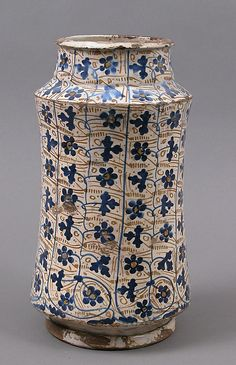 Pharmacy Jar  Date: 1440–1460 Geography: Made in Manises, Valencia, Spain Culture: Spanish Medium: Tin-glazed earthenware Dimensions: Overall: 11 1/8 x 6 1/4 in. (28.3 x 15.9 cm)
