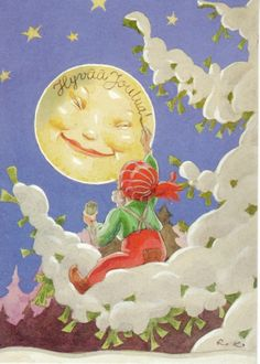 The moon man Christmas Art, Vintage Christmas, Vintage Winter, Vintage Cards, Vintage Postcards, Baumgarten, Big Balloons, Sun And Stars, Good Night Moon