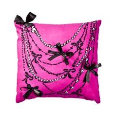D'signed 3D bows & rhinestones pillow.