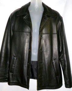 Mens Black Genuine LEATHER Coat Jacket Pebbled Soft Thick MIRAGE M #Mirage #BasicJacket