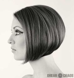 I love this look! A-line bob with no bangs. This looks edgy and feminine at the same time.