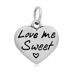 Wholesale Love Me Sweet Stainless Steel Heart  Pendant Charms 10pcs/units