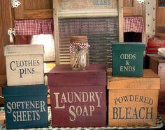 Laundry Room square primitive Shaker Boxes