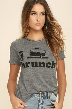 The Chaser I Heart Brunch Heather Grey Tee has us day dreaming about mimosas and all-you-can-eat pancakes! Soft and stretchy heather grey knit forms this classic tee with a crew neckline, short sleeves, and a relaxed bodice with large black print that professes your love of brunch. Raw back-stitched hems.