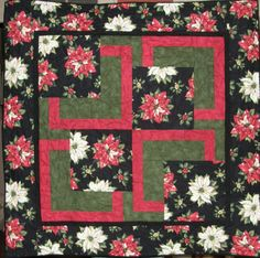 Poinsettia Red and White Christmas Quilted Wall by HollysHutch