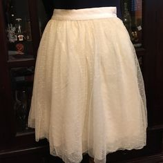 """Ivory skirt with netting overlay 4-layers of fabric make this skirt almost feel like a ballerina's tutu! Grosgrain ribbon elastic waist. 17"""" drop from waist to hem. Abercrombie & Fitch Skirts"""