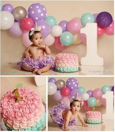 1st Birthday Girl Decorations, 1st Birthday Party For Girls, 1st Birthday Cake Smash, Birthday Ideas, Birthday Girl Pictures, First Birthday Photos, 1st Birthday Photoshoot, Smash Cake Girl, Foto Baby