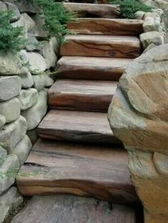 Big wooden slab steps with stone landscaping