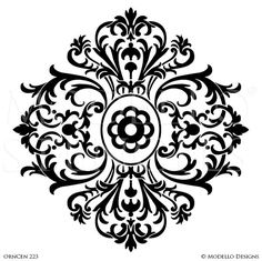 Large Medallion Patterns Painted and Stenciled in Custom Interior Murals and Ceilings muster Damask Stencil, Stencil Patterns, Stencil Art, Stencil Designs, Painting Patterns, Tile Stencils, Bird Stencil, Stencil Painting On Walls, Faux Painting