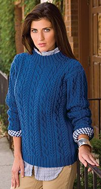 Free Pattern from Creative Kniting- Windblown Calbes Sweater: Spectacular cables rule the day in an Aran-style sweater for blustery weather.  Design by Sara Louise Harper