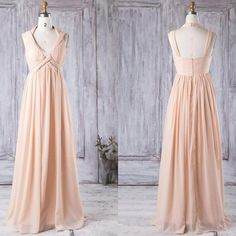 Stylish v neck long peach chiffon bridesmaid dress