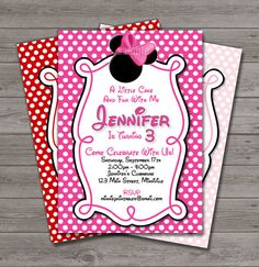 HUGE SELECTION Minnie Mouse Invitation - Red and Pink Minnie Mouse Invitation - Minnie Mouse Birthday Party Invitations on Etsy, $10.00