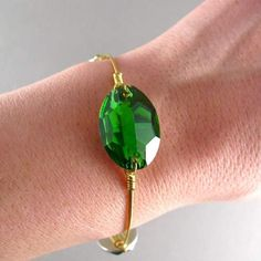 Single green bangle!  price 3 euros. <  Available at my shop. #bracelets #bangles #green #gold