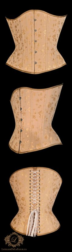 One of a pair of asymmetrical corsets intended for daily wear for a client with an active lifestyle, requiring back support. The short hips allow for more ease of movement without compromising abdominal support. The conical shape suits the client's narrow ribs and aesthetic taste, reminiscent of a Victorian silhouette. Made with integral boning channels in beige rose brocade coutil, hand-finished Italian silk peau de soie binding in a slightly deeper colour for contrast. Corset Costumes, Petticoats, Couture, Corsets, Ribs, Daily Wear, Contrast, Victorian, Silhouette