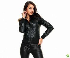 Veste en simili cuir noir femme
