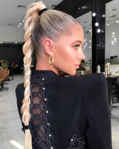 evening hairstyles lines hairstyles images braid braided hairstyles braided hairstyles color 51 hairstyles natural black hair hairstyles using human hair hairstyles quick and easy # layered bob Braids Long Ponytail Hairstyles, Evening Hairstyles, Work Hairstyles, Sleek Hairstyles, Hair Inspo, Hair Inspiration, Cool Blonde Hair, Sleek Ponytail, Dye My Hair