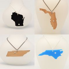 Customizable State Love Necklace with Heart - Choose the City for the Heart - Wood or Acrylic - Laser Cut Jewelry. $20.00, via Etsy.