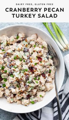 Put those Thanksgiving leftovers to good use! This easy turkey salad recipe is made with cranberries and pecans. Serve it as a sandwich or over lettuce for a simple, healthy meal. #dairyfree #leftovers Leftover Turkey Recipes, Leftovers Recipes, Dairy Free Recipes, Easy Healthy Recipes, Healthy Foods, Baking Recipes, Vegan Recipes, Gluten Free, Thanksgiving Recipes