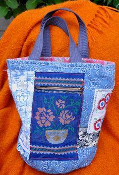 Charming Recycled Roundbottom Tote Bag in by LaBohemeBelisama, $65.00