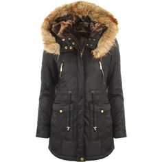 Libby Fur Hooded Parka ($78) ❤ liked on Polyvore featuring outerwear, coats, black, fur lined bomber jacket, black bomber jacket, military bomber jacket, military fashion and parka coat
