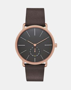 Watch by Skagen Matte, real leather strap Stainless steel case Two hand movement Sub-dial design Dash indices Pin buckle fastening 5ATM: water resistant to 50 metres (160 feet)