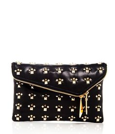 My Obsession SUPED UP DEBUTANTE ASYMMETRIC CLUTCH Super hot black clutch with gold studs by Henri Bendel